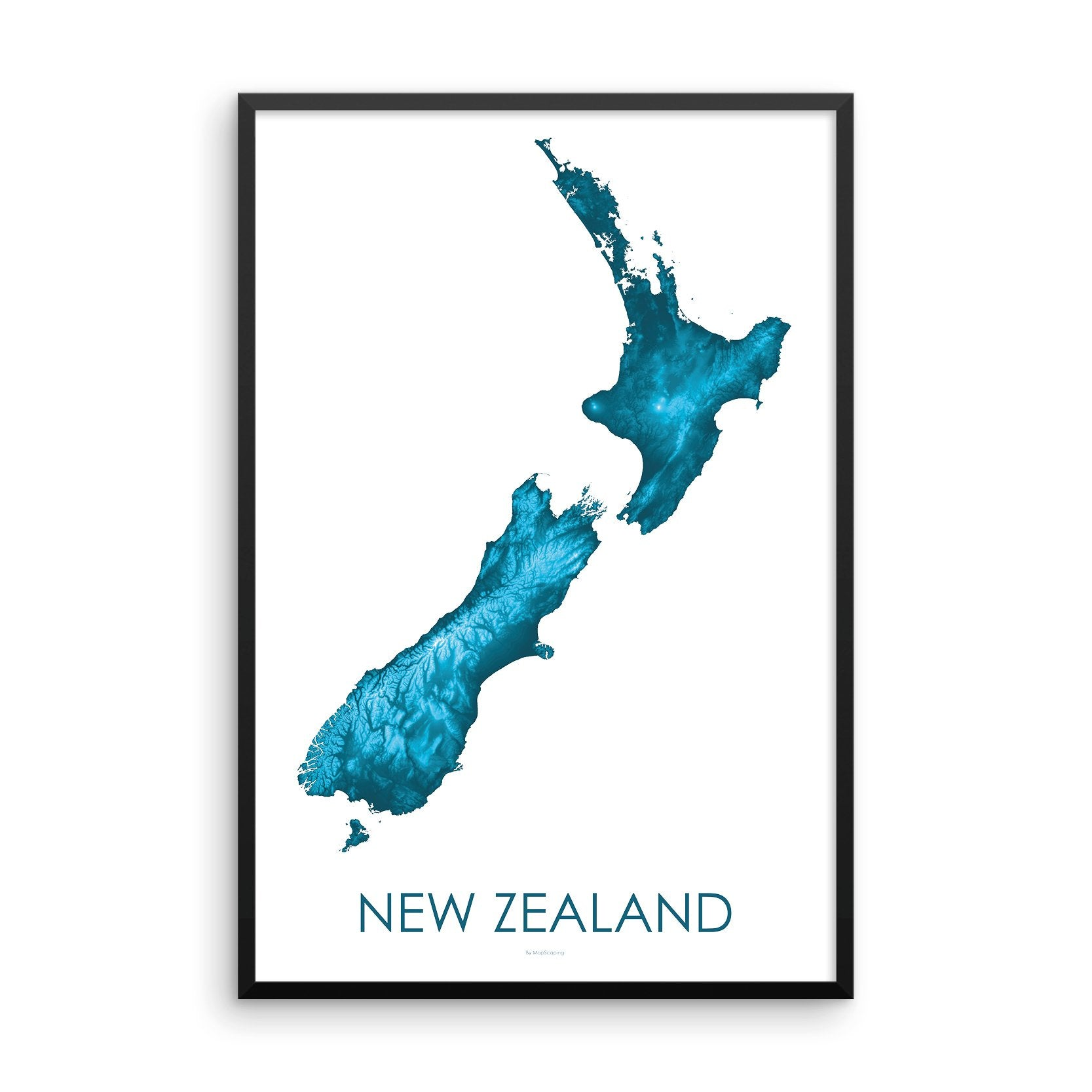 Framed Petroleum Blue poster map of New Zealand's North and South Islands, detailed map print showing the mountains of New Zealand's landscape.