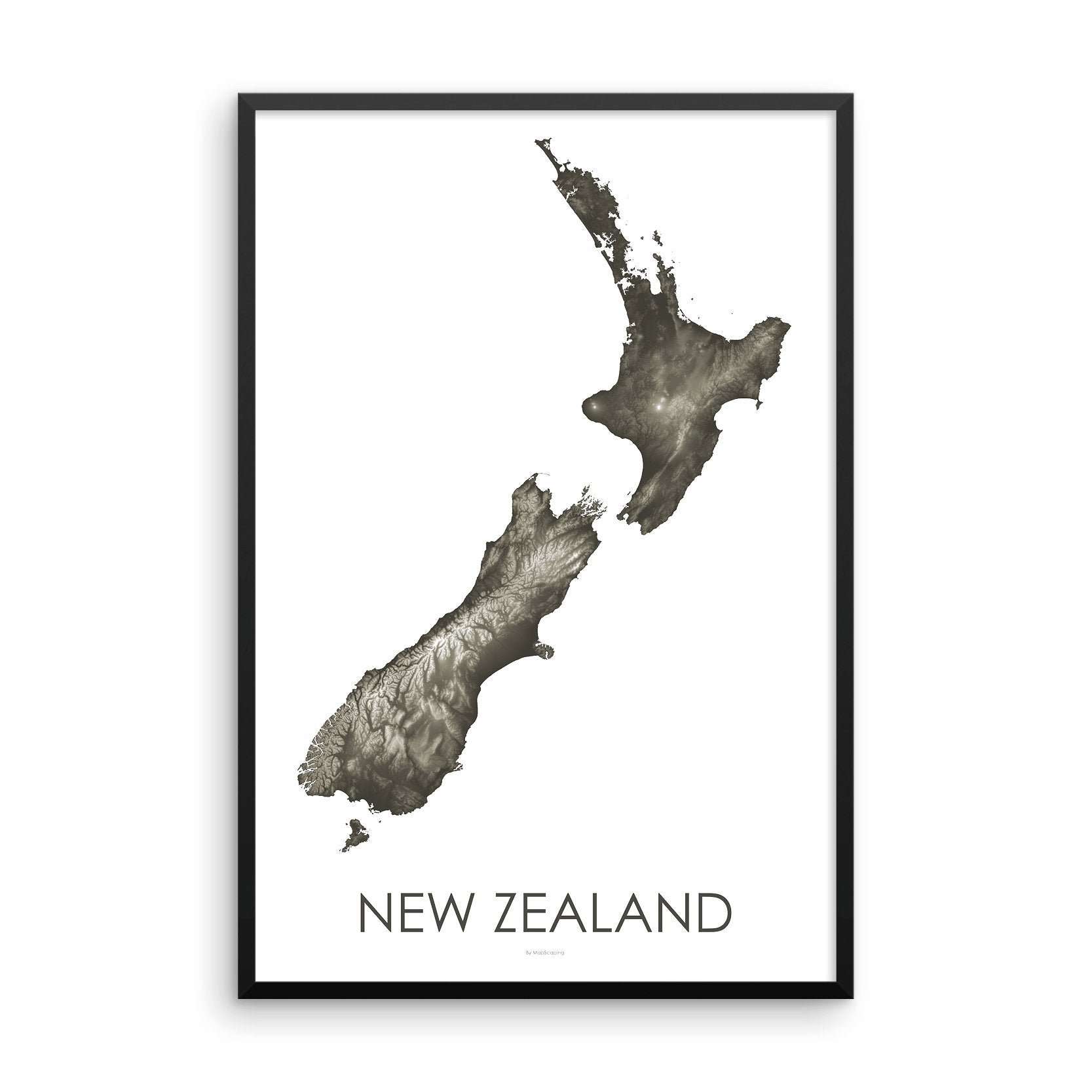 Framed gray or slate poster map of New Zealand's North and South Islands, detailed map print showing the mountains of New Zealand's landscape.