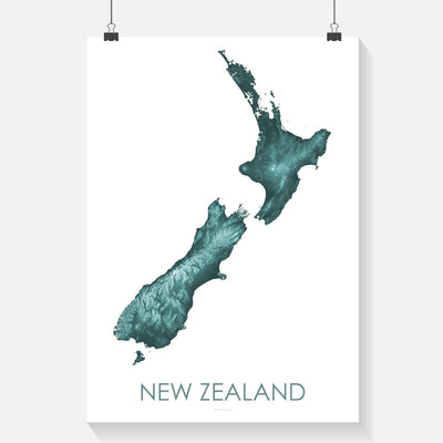 Detailed teal poster map of New Zealand showing the landscape, and topography in a modern map print. The 3D design highlights the landscape of New Zealand.