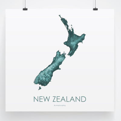 Detailed teal  map print of New Zealand in blue. Poster map of New Zealand highlighting the topography of the landscape of the North Island and the South Island.