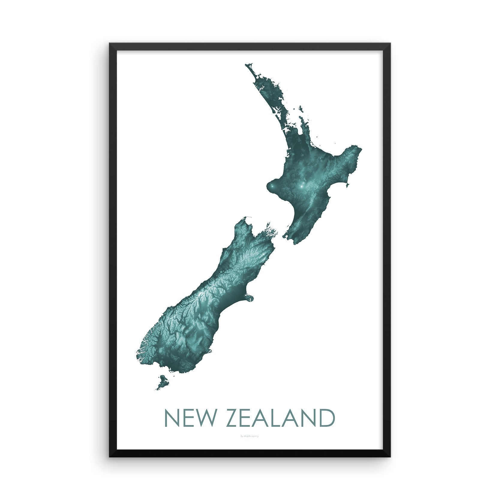 Framed teal poster map of New Zealand's North and South Islands, detailed map print showing the mountains of New Zealand's landscape.