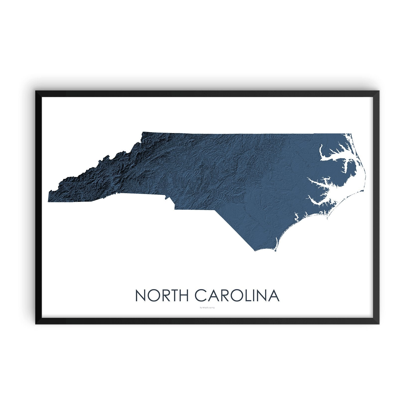 North Carolina Map 3D Midnight Blue-Topographic Map