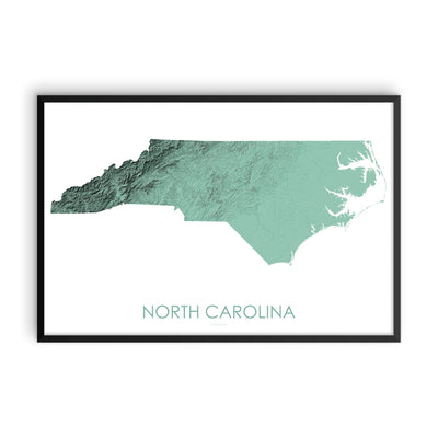 North Carolina Map 3D Mint-Topographic Map