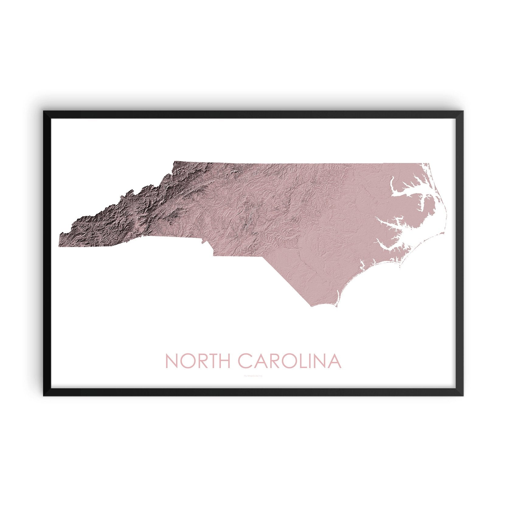 North Carolina Map 3D Rose-Topographic Map