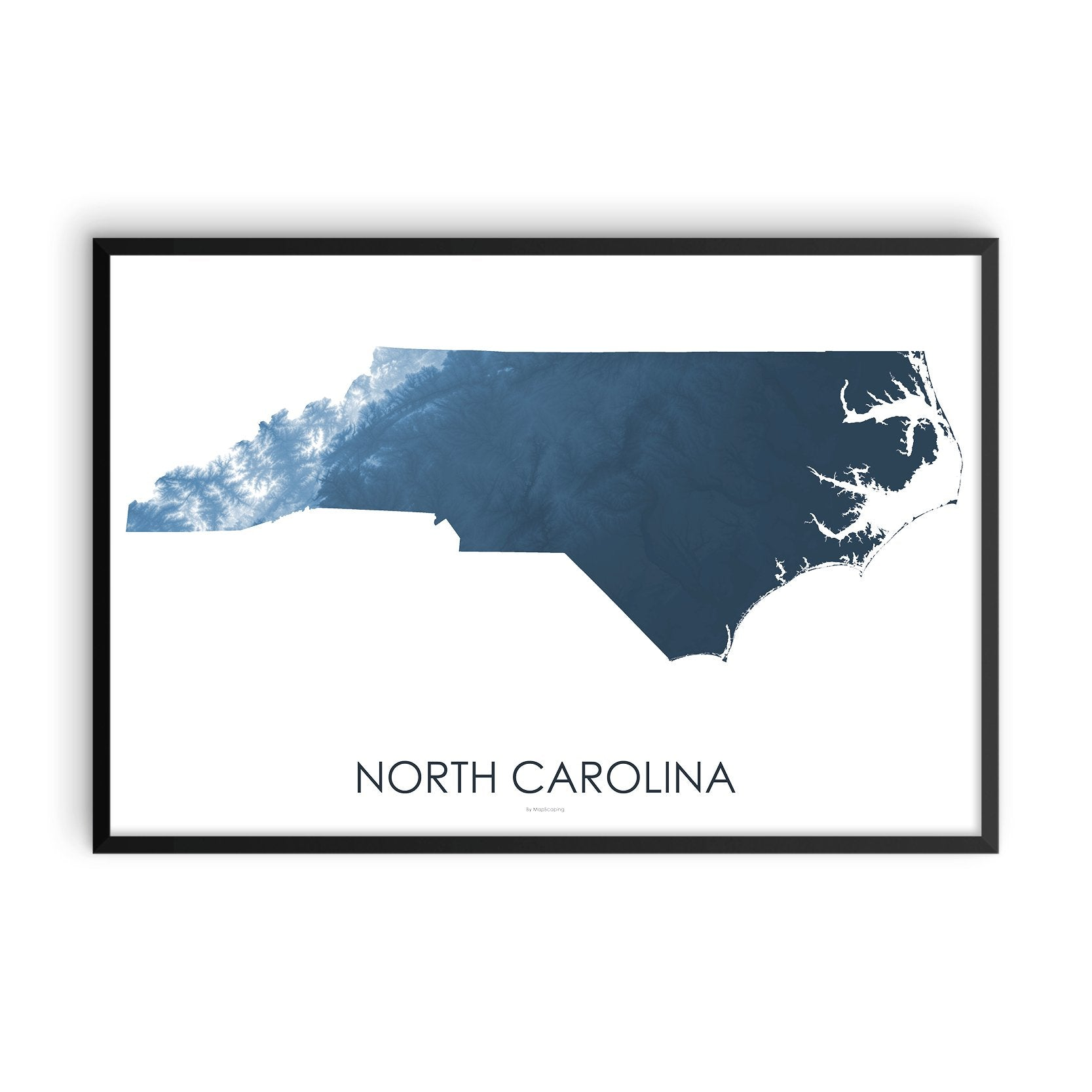 North Carolina Map Midnight Blue-Topographic Map