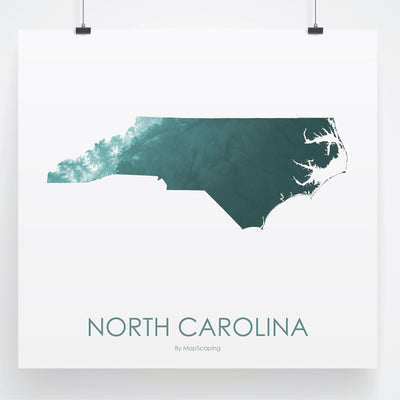 North Carolina Map Teal-Topographic Map