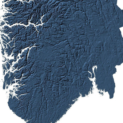 Norway Map 3D Midnight Blue-Topographic Map