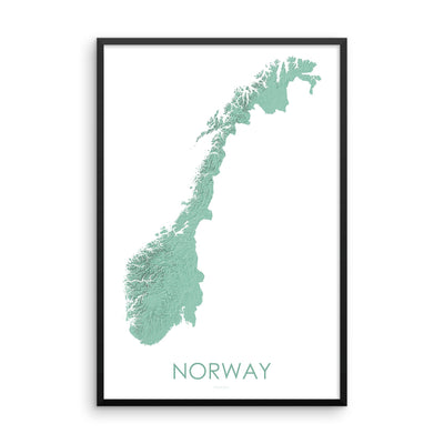 Norway Map 3D Mint-Topographic Map