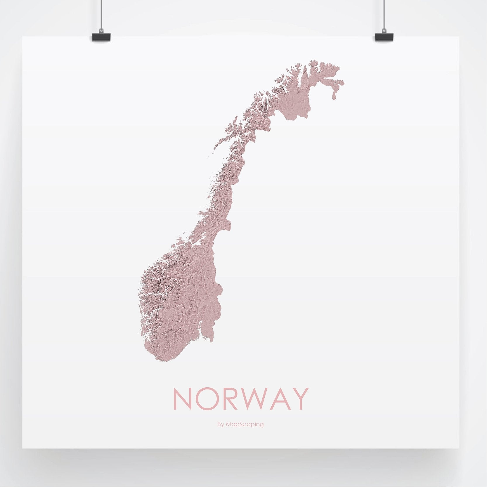 Topographic Map Of Norway.Norway Poster Solid Rose Topographic Map Art By Mapscaping