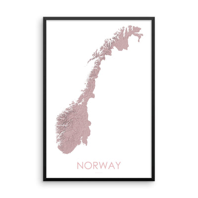 Norway Map 3D Rose-Topographic Map