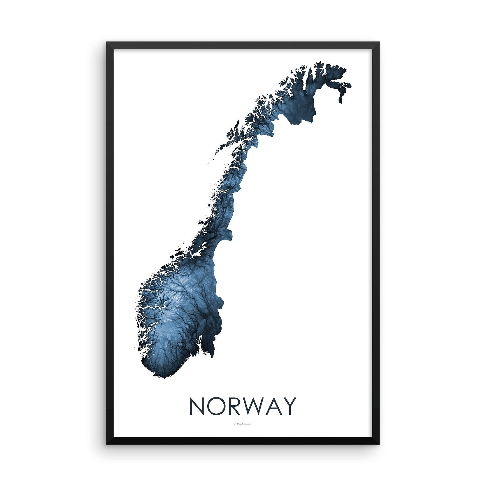 Norway Map Midnight Blue-Topographic Map