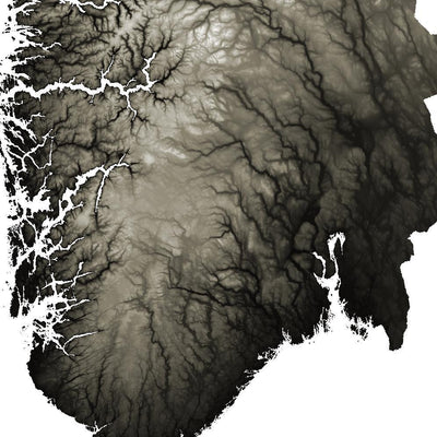 Norway Map Slate-Topographic Map