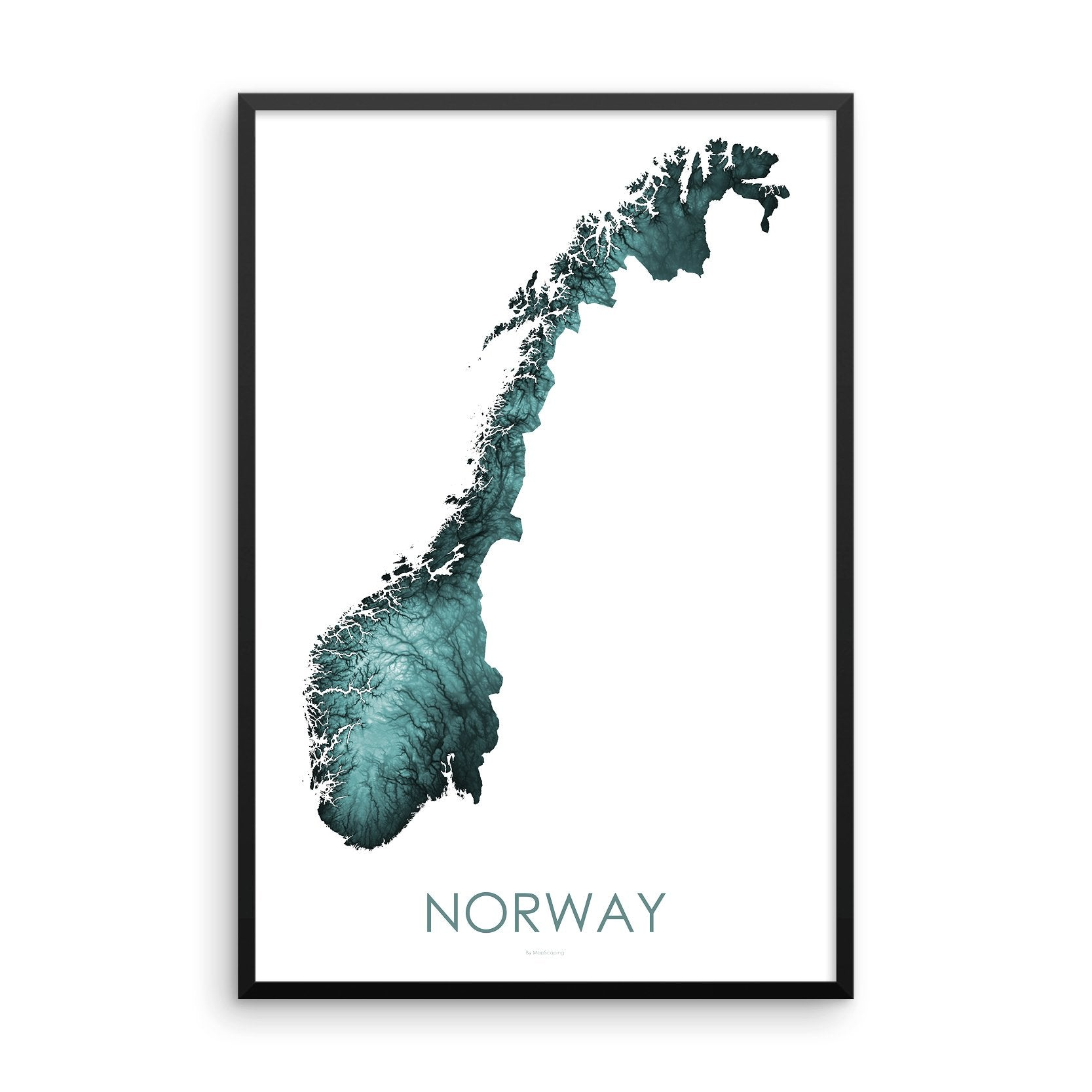 Norway Map Teal-Topographic Map