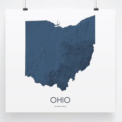 Ohio 3D Midnight Blue-Topographic Map