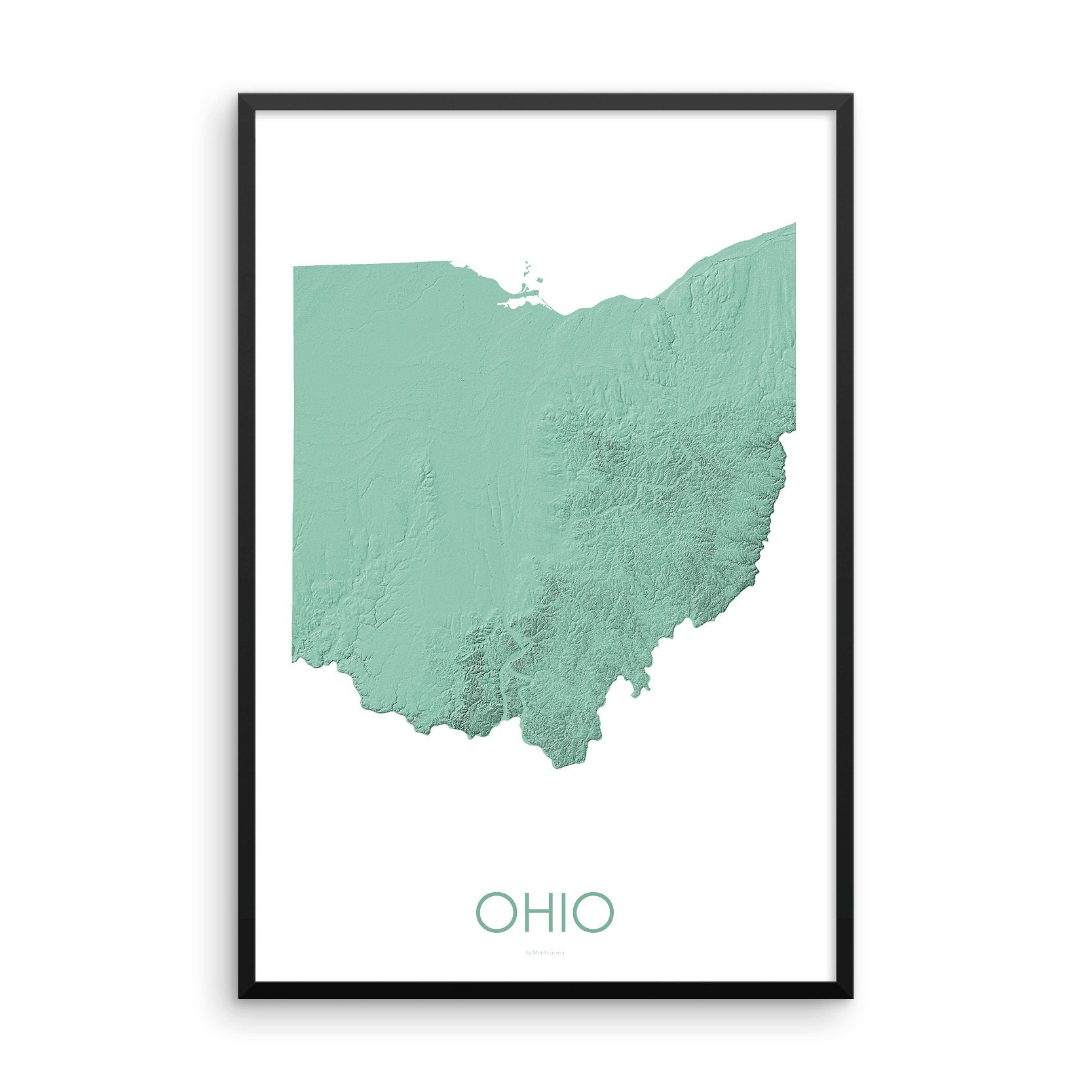 Ohio Map 3D Mint-Topographic Map