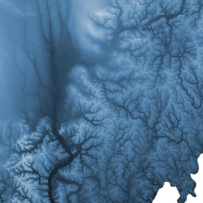 Ohio Map Midnight Blue-Topographic Map