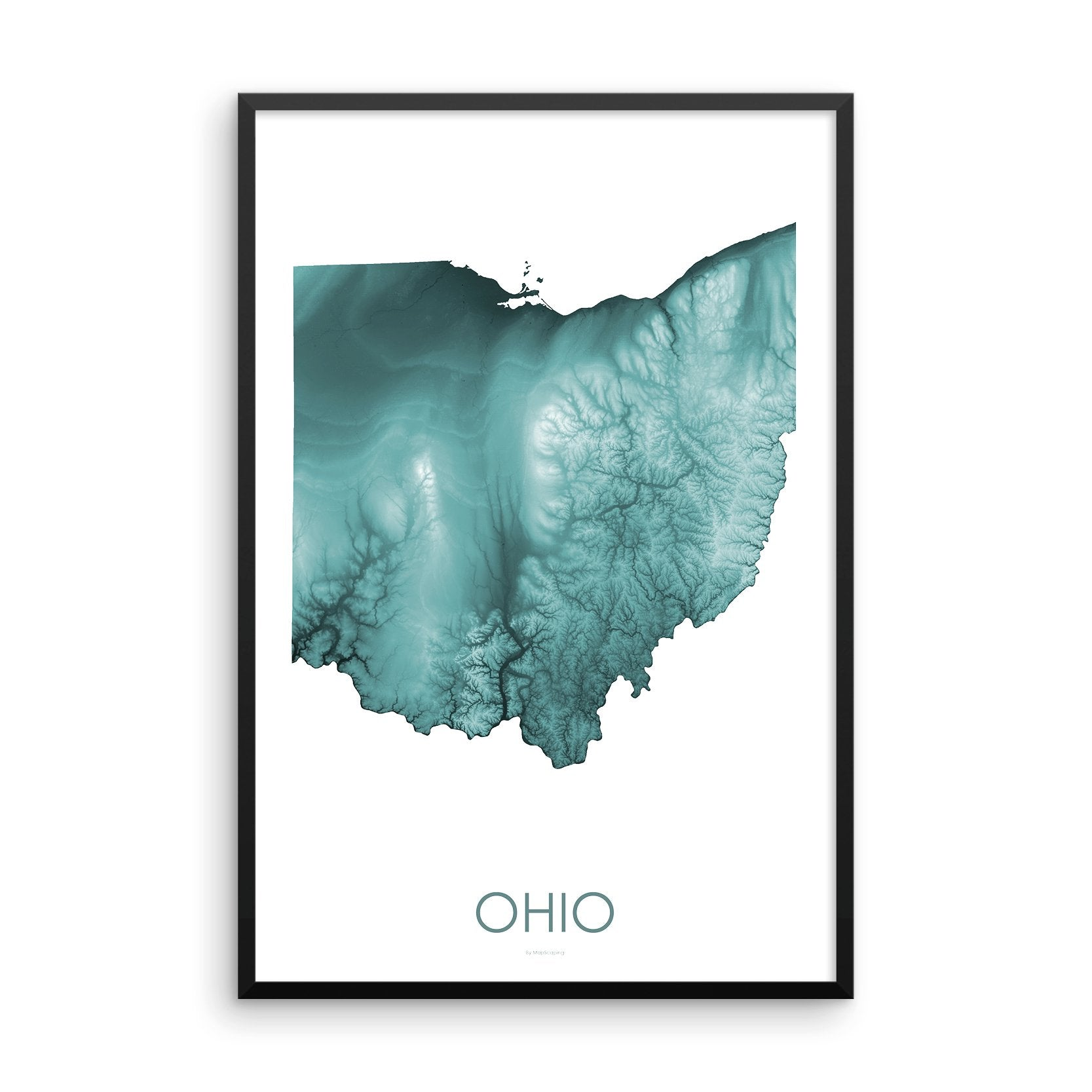 Ohio Map Teal-Topographic Map