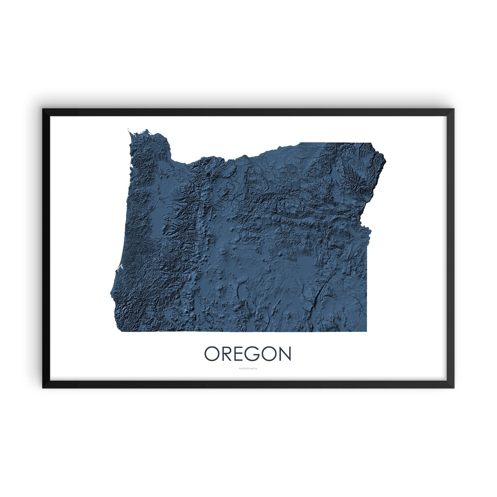 Oregon Map 3D Midnight Blue-Topographic Map