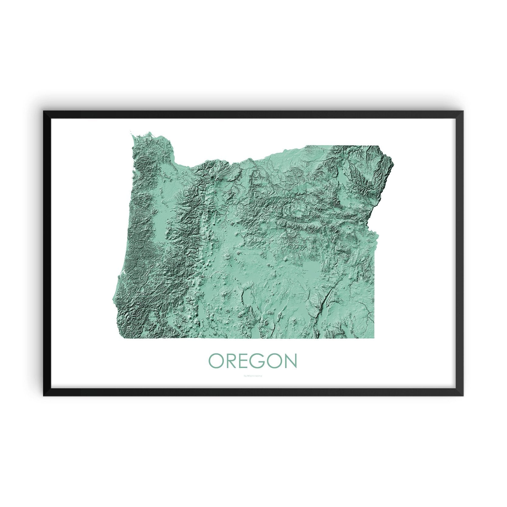 Oregon Map 3D Mint-Topographic Map