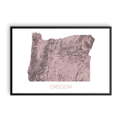 Oregon Map 3D Rose-Topographic Map