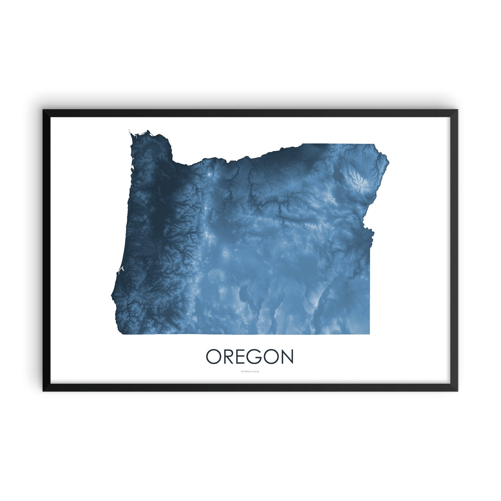 Oregon Map Midnight Blue-Topographic Map