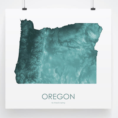 Oregon Map Teal-Topographic Map