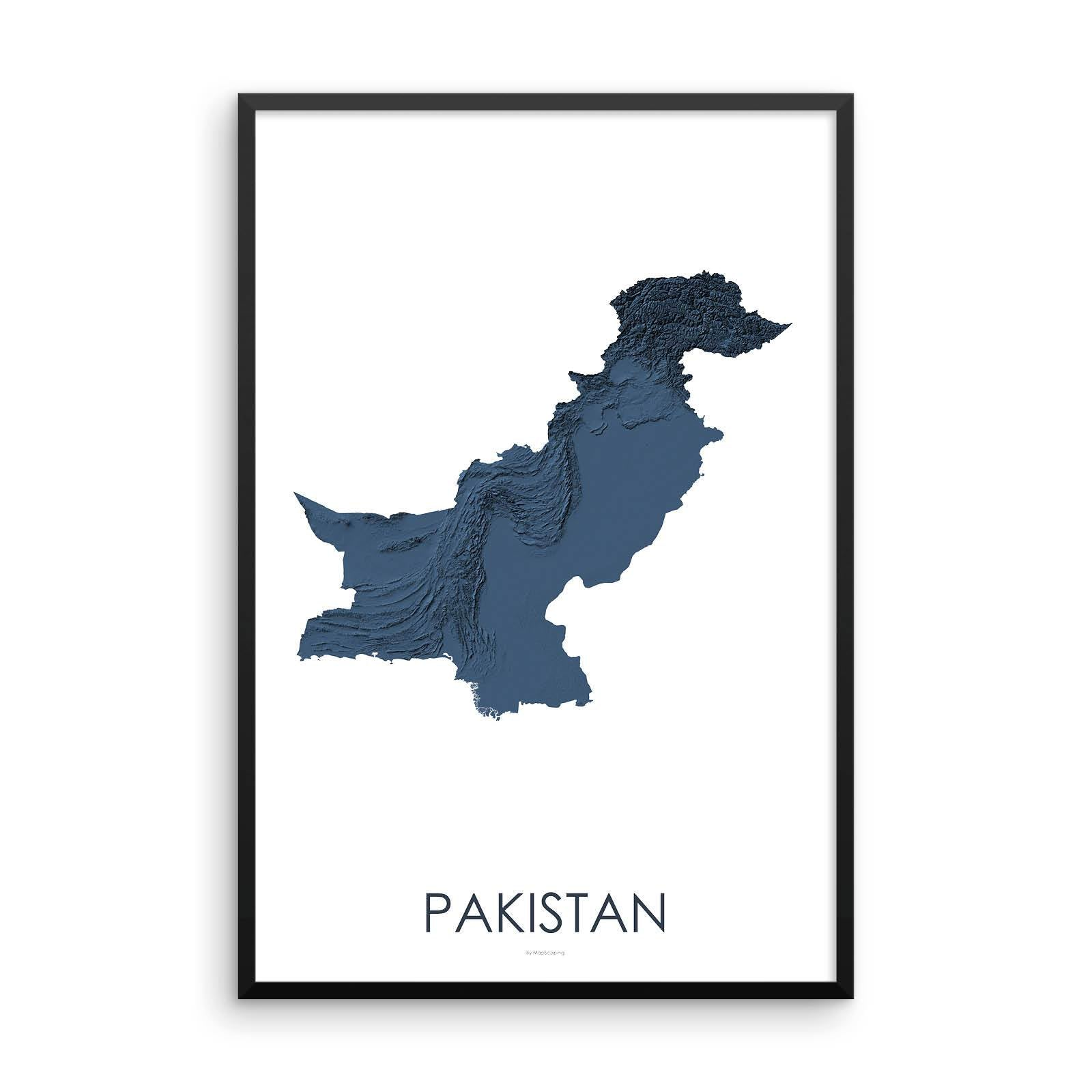 Pakistan Map 3D Midnight Blue