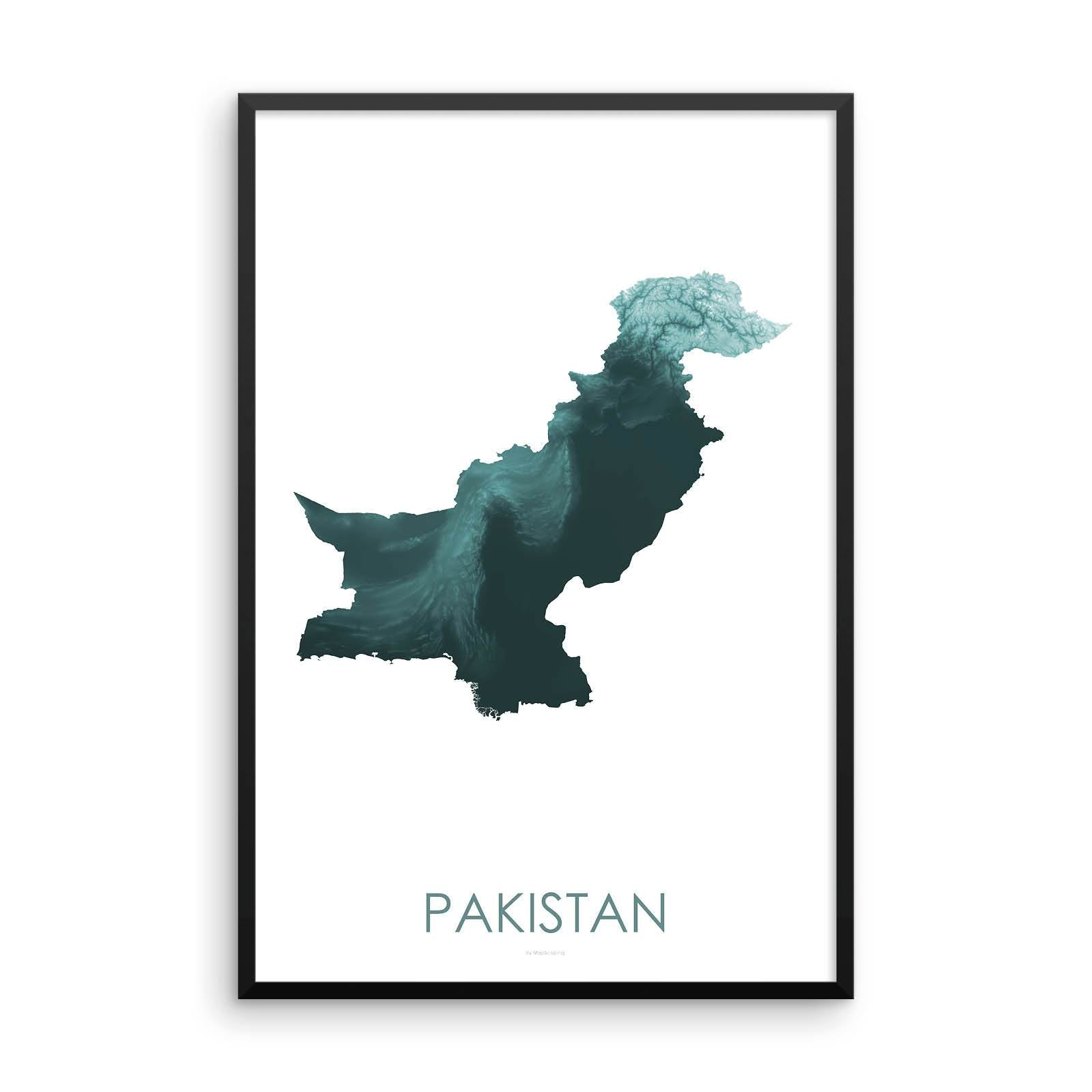 Pakistan Map Teal