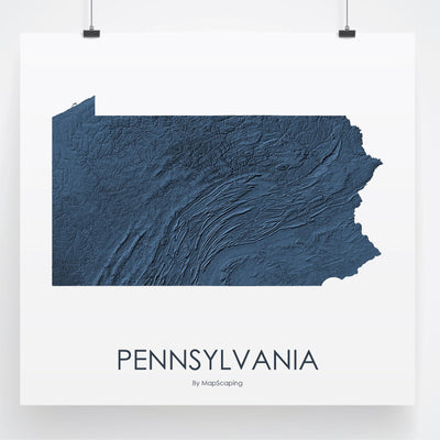 Pennsylvania Map 3D Midnight Blue-Topographic Map