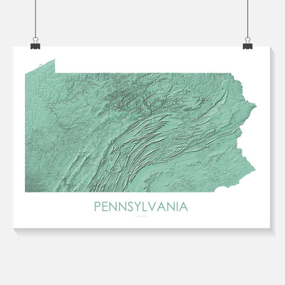 Pennsylvania Map 3D Mint-Topographic Map
