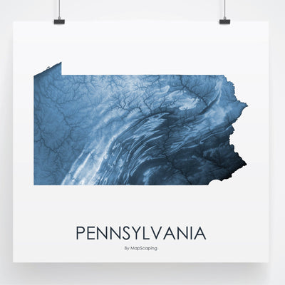 Pennsylvania Map Midnight Blue-Topographic Map