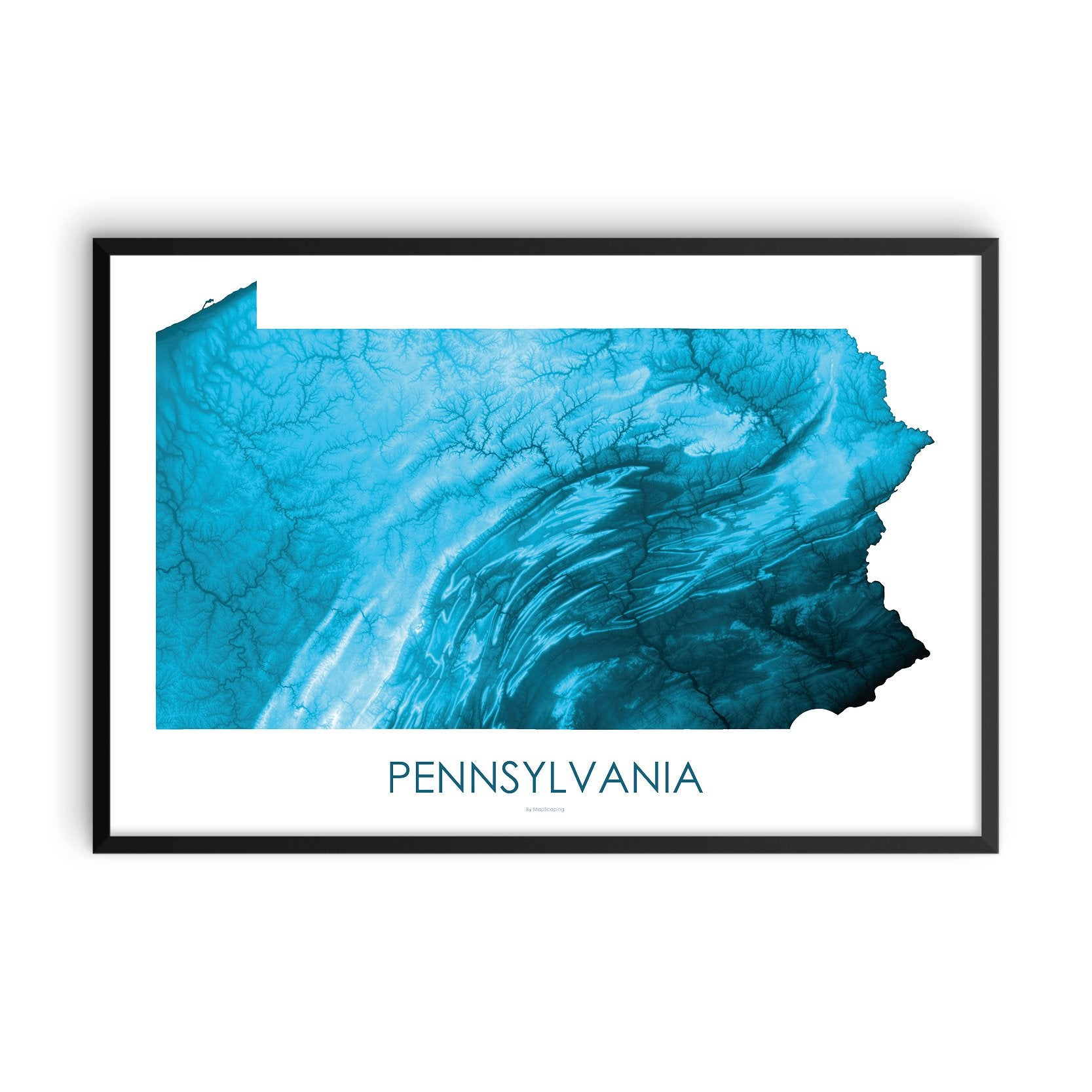 Pennsylvania Map Petroleum Blue-Topographic Map