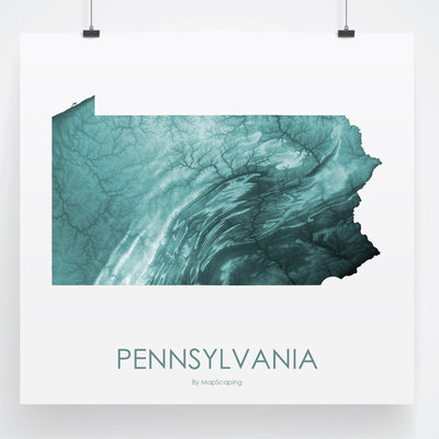 Pennsylvania Map Teal-Topographic Map