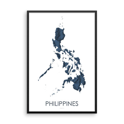 Philippines Map 3D Midnight Blue