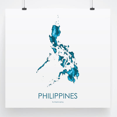 Philippines Map Petroleum Blue