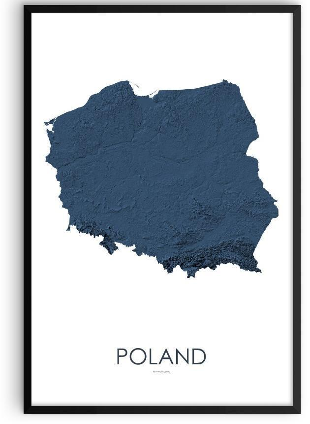 Poland Poster 3D Midnight Blue-topographic wall art map by MapScaping