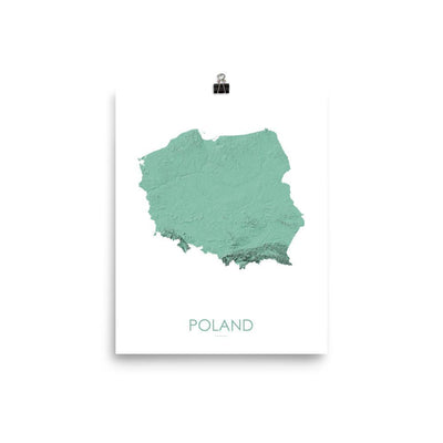 "Poland Poster 3D Mint-8""x10"" - 20.32cm x 25.4cm-topographic wall art map by MapScaping"