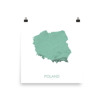 "Poland Poster 3D Mint-10""x10"" - 25.4cm x 25.4cm-topographic wall art map by MapScaping"