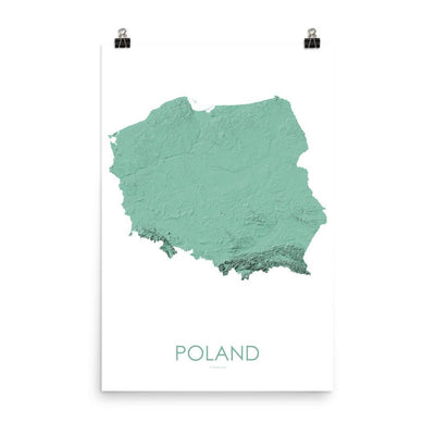 "Poland Poster 3D Mint-18""×24"" - 45.72cm x 60.96cm-topographic wall art map by MapScaping"
