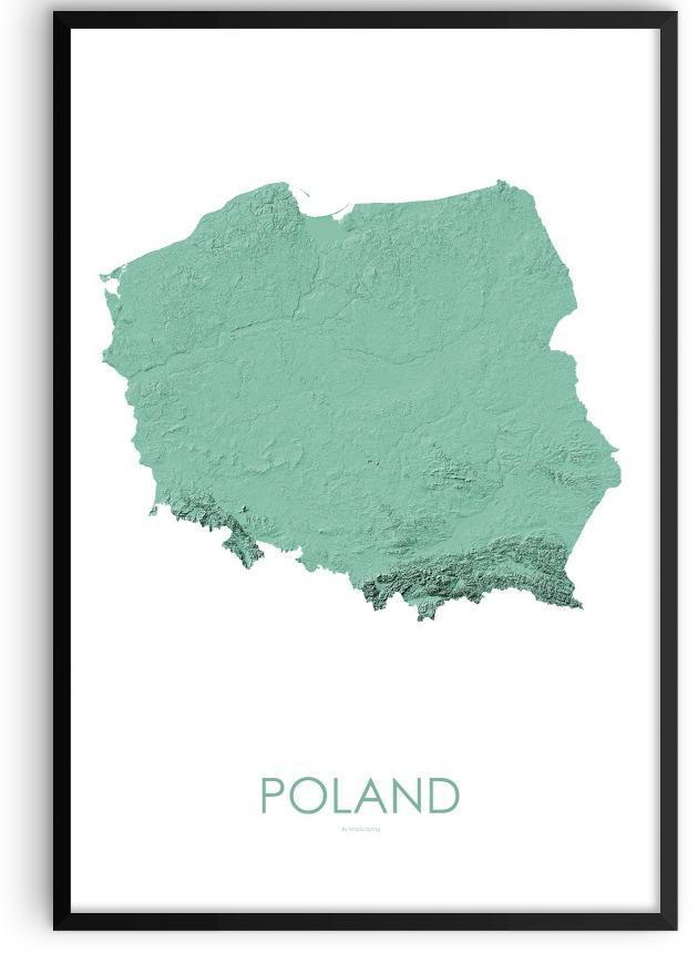 Poland Poster 3D Mint-topographic wall art map by MapScaping