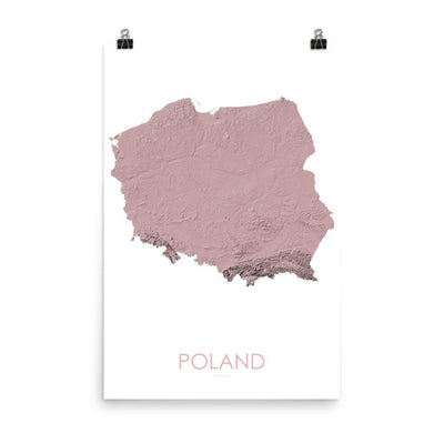"Poland Poster 3D Rose-18""×24"" - 45.72cm x 60.96cm-topographic wall art map by MapScaping"