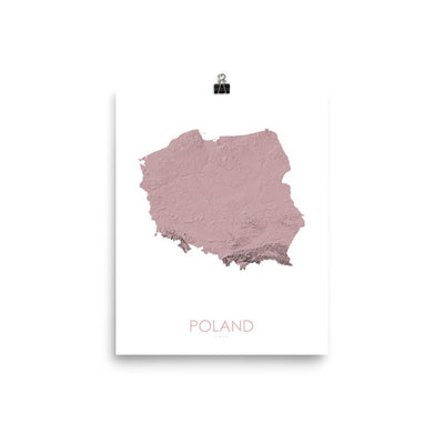 "Poland Poster 3D Rose-8""x10"" - 20.32cm x 25.4cm-topographic wall art map by MapScaping"
