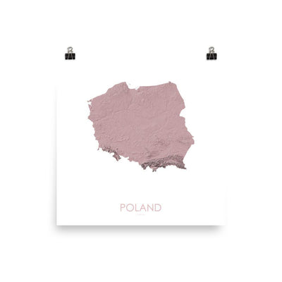 "Poland Poster 3D Rose-10""x10"" - 25.4cm x 25.4cm-topographic wall art map by MapScaping"