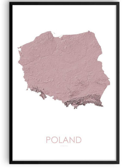 Poland Poster 3D Rose-topographic wall art map by MapScaping