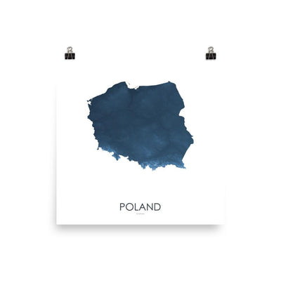 "Poland Poster Midnight Blue-10""x10"" - 25.4cm x 25.4cm-topographic wall art map by MapScaping"
