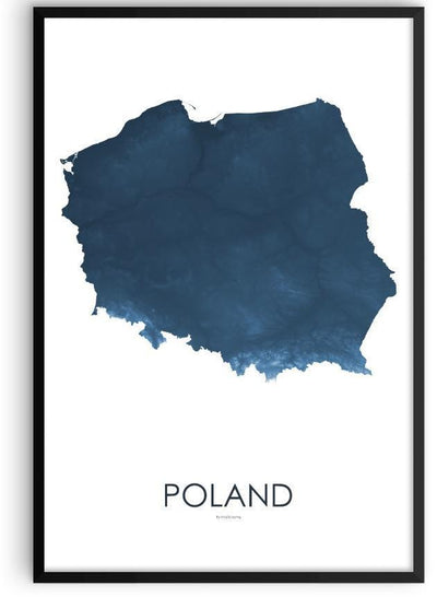 Poland Poster Midnight Blue-topographic wall art map by MapScaping
