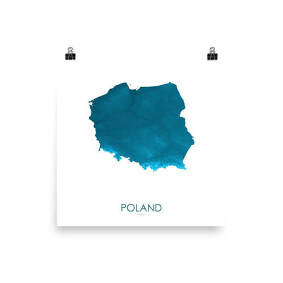 "Poland Poster Petroleum Blue-10""x10"" - 25.4cm x 25.4cm-topographic wall art map by MapScaping"