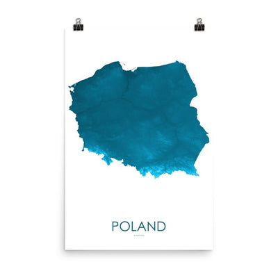 "Poland Poster Petroleum Blue-18""×24"" - 45.72cm x 60.96cm-topographic wall art map by MapScaping"