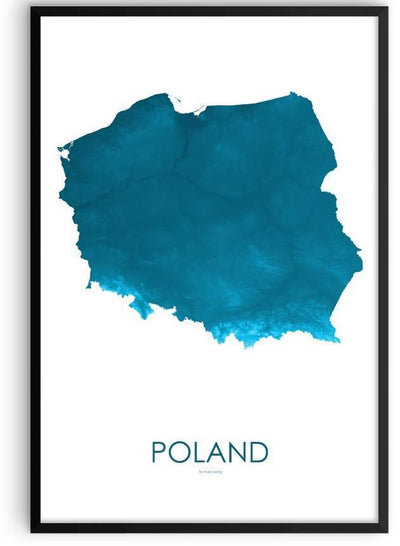 Poland Poster Petroleum Blue-topographic wall art map by MapScaping