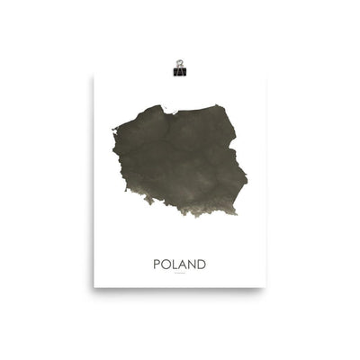"Poland Poster Slate-8""x10"" - 20.32cm x 25.4cm-topographic wall art map by MapScaping"